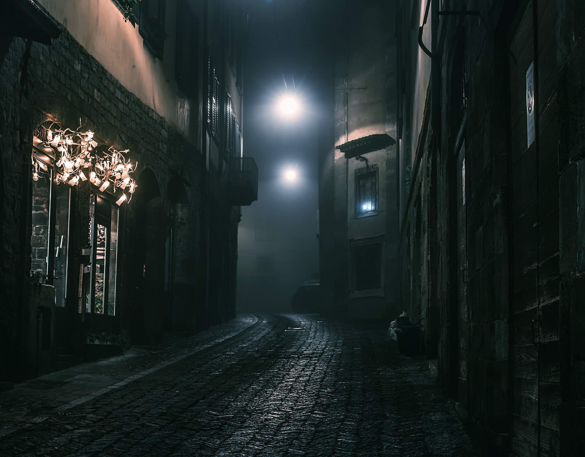 A dark foreboding alley in a medieval town